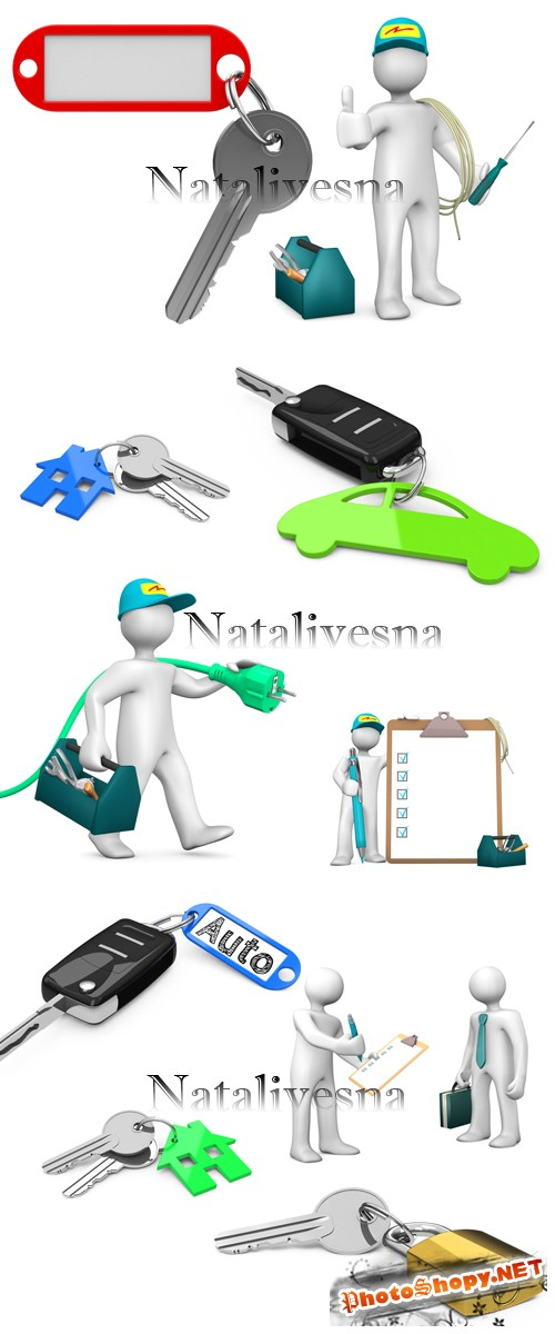 3D ���� � ����� � �������� �� ����� ���� / 3D People and keys - Stock photo