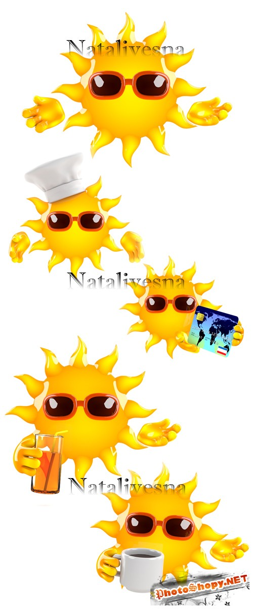 ������ �������� �� ����� ���� / Summer sun on white background - Stock photo