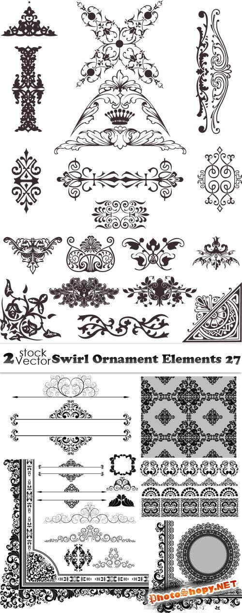 Vectors - Swirl Ornament Elements 27