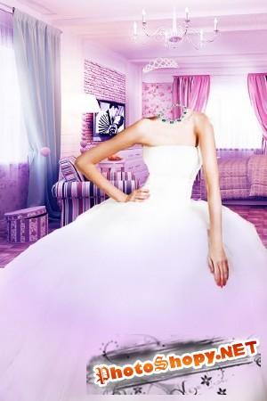 Женский шаблон-в белом платье с короной