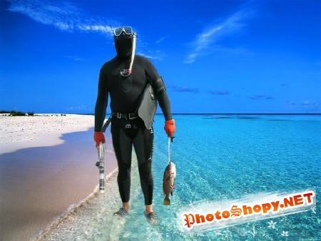 Шаблон для мужчин-аквалангист на берегу моря с уловом