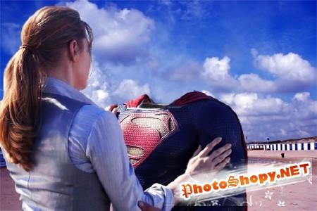 Шаблон для мужчин-в объятиях защитника супермена