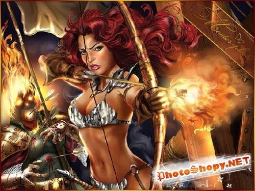 Женский шаблон для фотошопа - Огненные стрелы