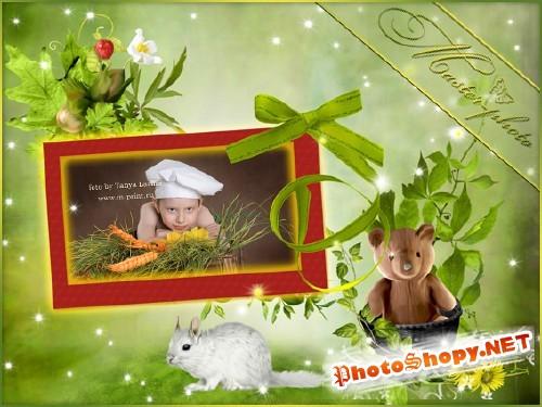 Рамка для фотошопа летняя - Плюшевый мишка