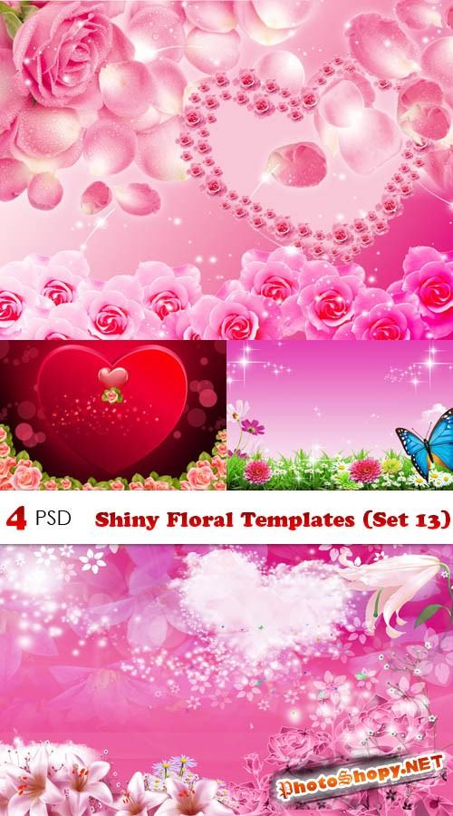PSD - Shiny Floral Templates (Set 13)