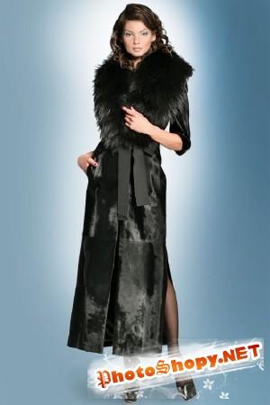 Фотошаблон для девушек-красивая девушка в черном плаще