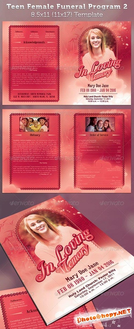 PSD - Teen Funeral Program Template