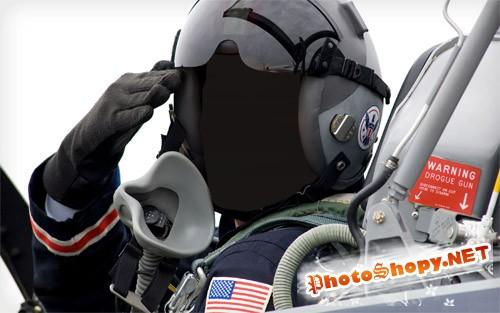 Шаблон psd - Летчик истребителя
