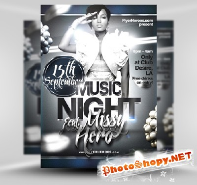 Music Night Flyer PSD Template