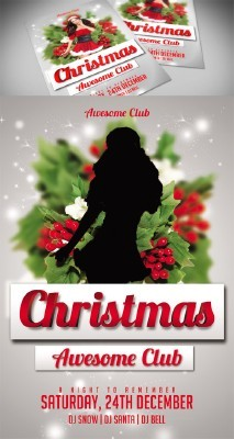 Awesome Club Christmas Flyer Template PSD