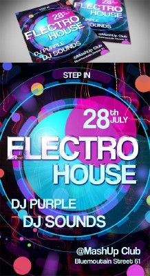 Electro Party Flyer Template PSD