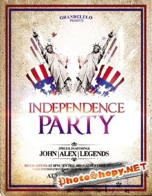 I Want You 4th July Party Flyer Template PSD