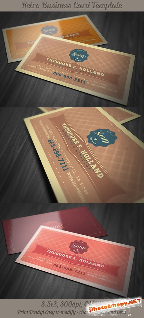 Retro Business Card Template 1
