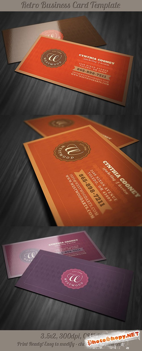 Retro Business Card Template 2