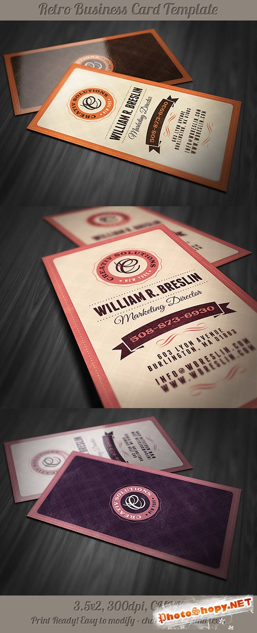 Retro Business Card Template 3