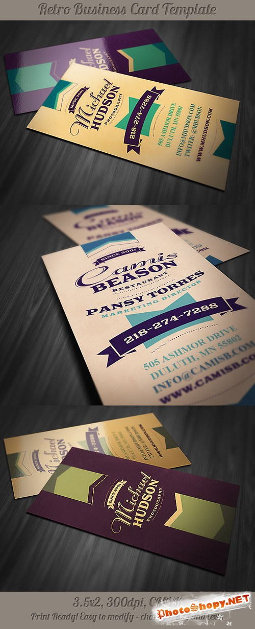 Retro Business Card Template 6