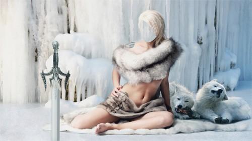 Шаблон для фотошопа - Красивая девушка окутана мехами с двумя белыми волками