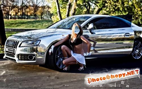Женский шаблон - Блондинка и роскошный автомобиль