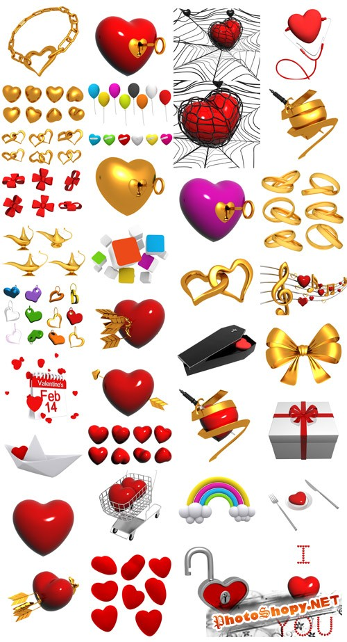 PSD Valentines Clipart Pack