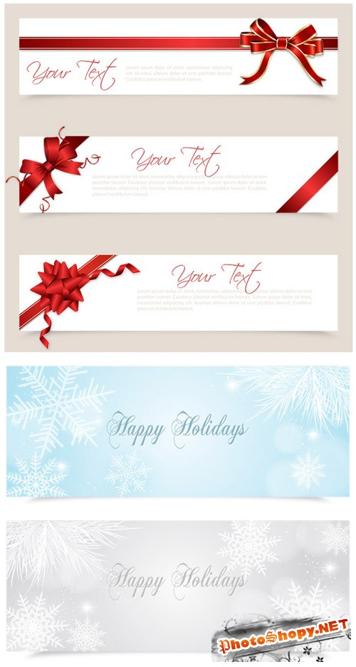 Christmas Banners with Gift Bows Ribbons