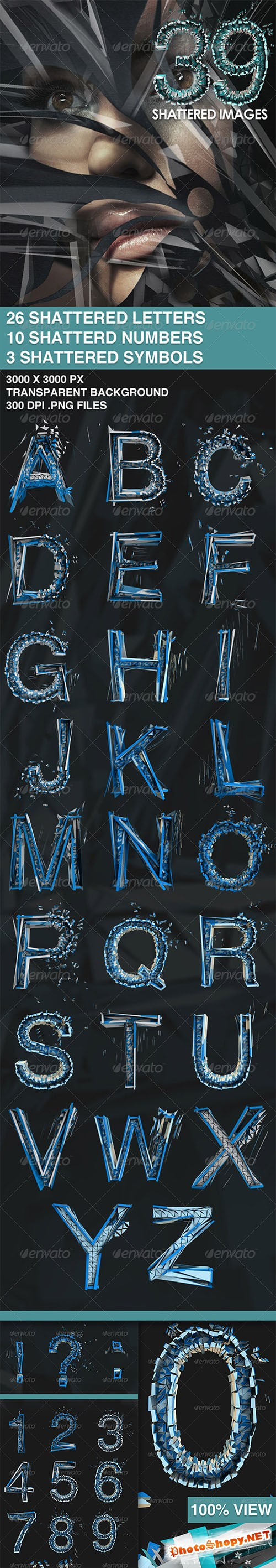 GraphicRiver - 39 Isolated Shattered Letters 2005029