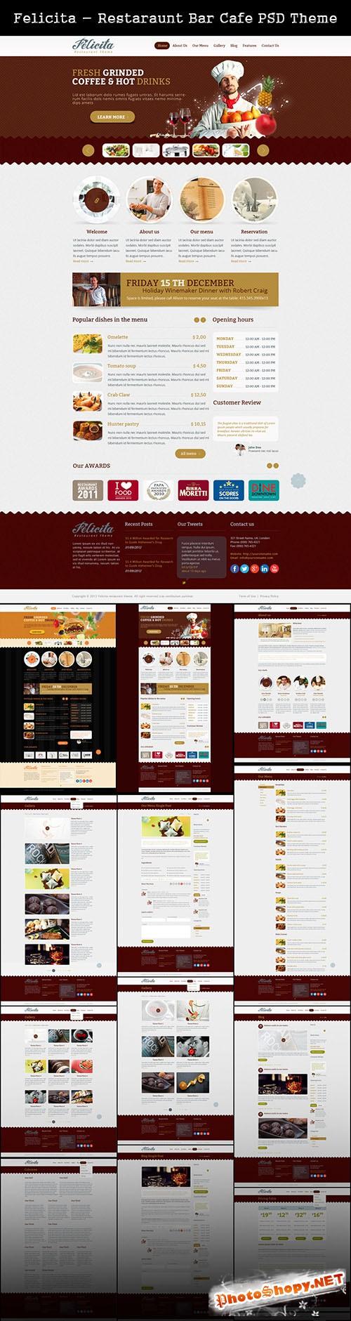 Restaraunt Bar Cafe PSD Theme - Felicita