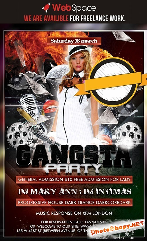 Gangsta Party Flyer/Poster PSD Template REUPLOAD