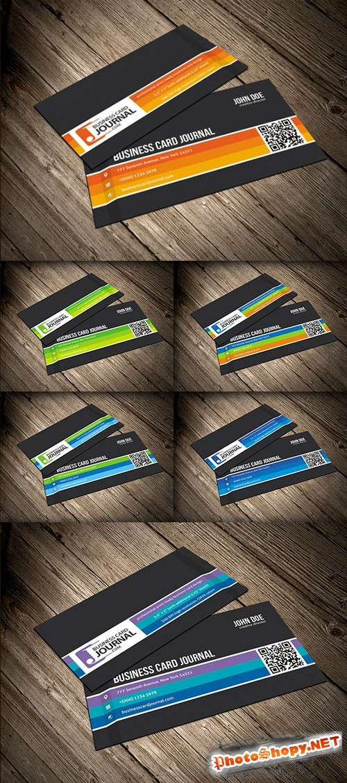 Creative Business Card PSD Template with Carbon Fiber Background