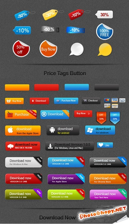 Colored Download PSD Buttons Template #2