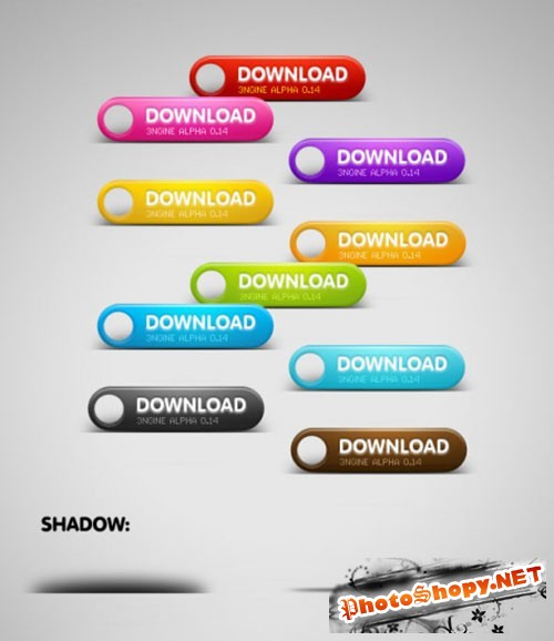 Colored Download PSD Buttons Template #1