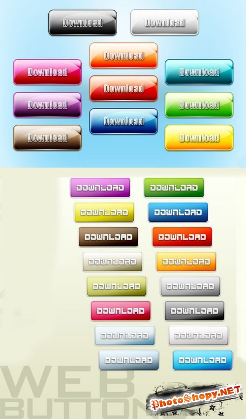 Colored 3D Website Buttons PSD Template