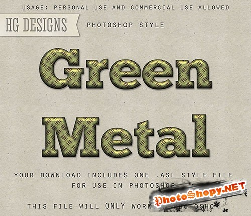Green Metal Photoshop Styles