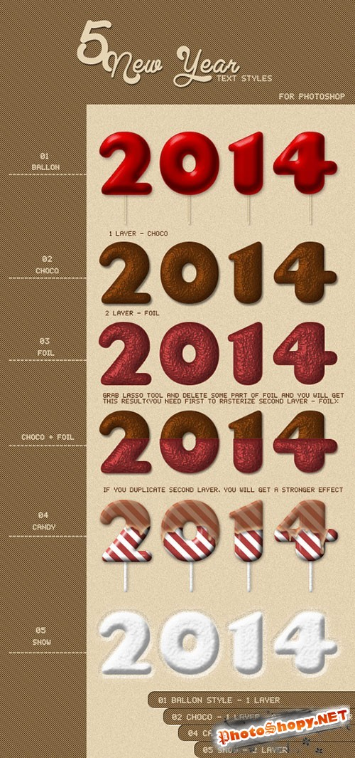 Colored Happy New Year Text Photoshop Styles
