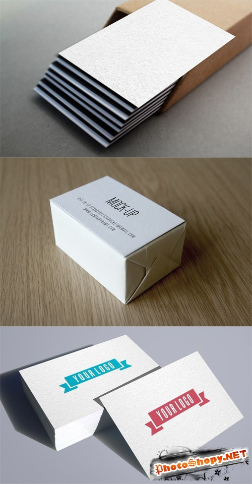 3 Realistic Business Card Mock-Up Templates PSD