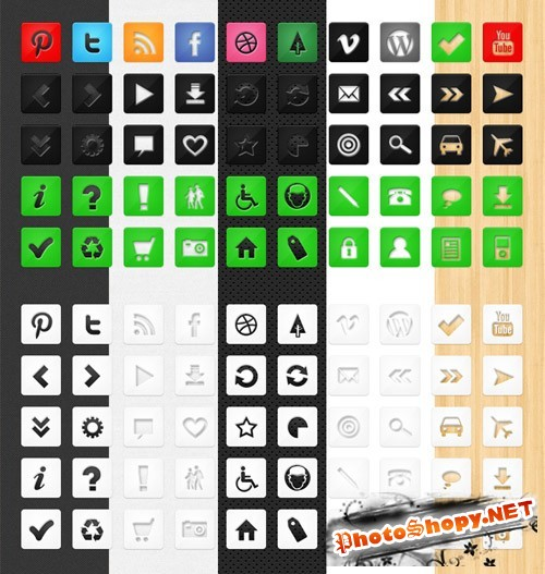 50 Die Cut Social Icons Set