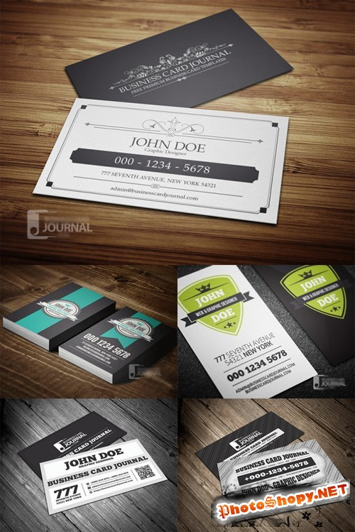 5 Retro-Vintage Business Cards PSD