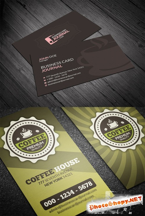 2 Cafeteria Business Cards PSD