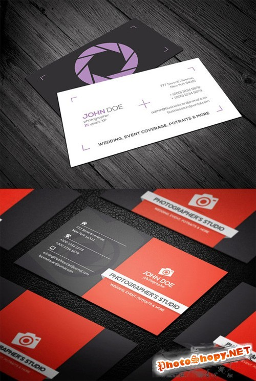 2 Photographer Business Cards PSD