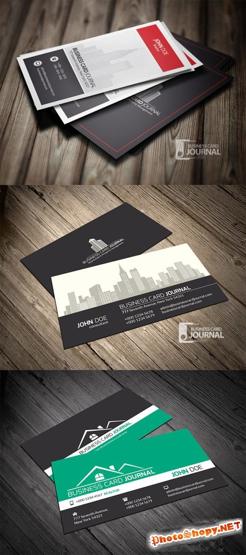 3 Real Estate Business Card Templates PSD