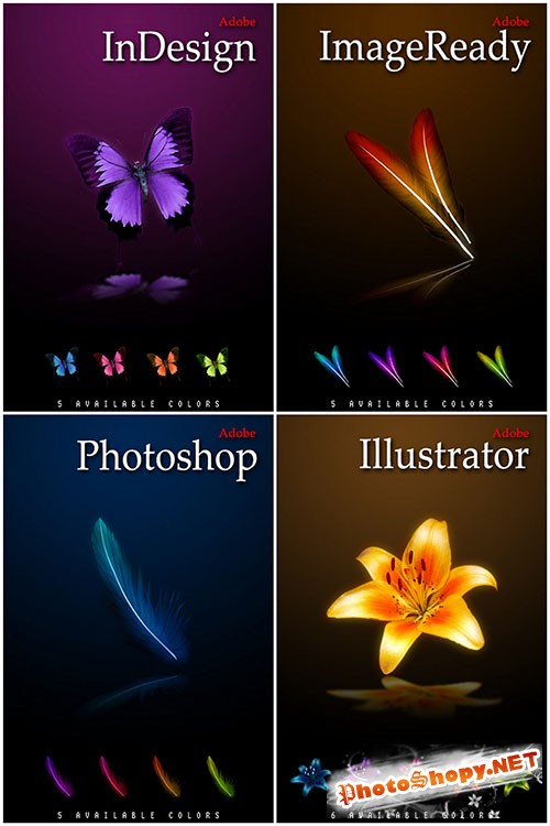 Colourful Feather, Butterfly and Flowers Icons for Photoshop