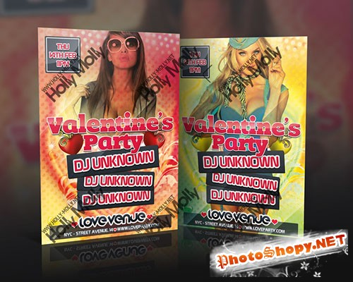 Valentine's Day Party Flyer/Poster PSD Template
