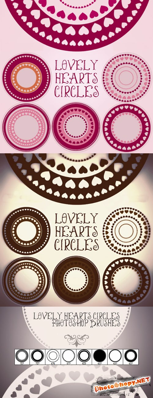 Lovely Hearts Circles Frames Photoshop Brushes