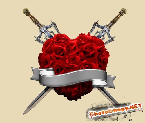 Сердце из роз в красивом оформлении