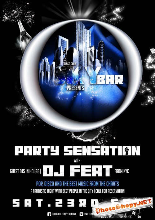 Skybar Party Flyer Template PSD