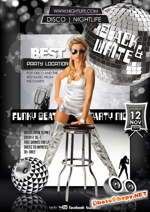 Black and White Disco Nightlife Flyer Template PSD