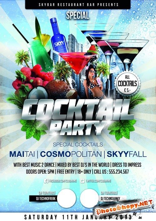 Coctail Party Flyer Template PSD