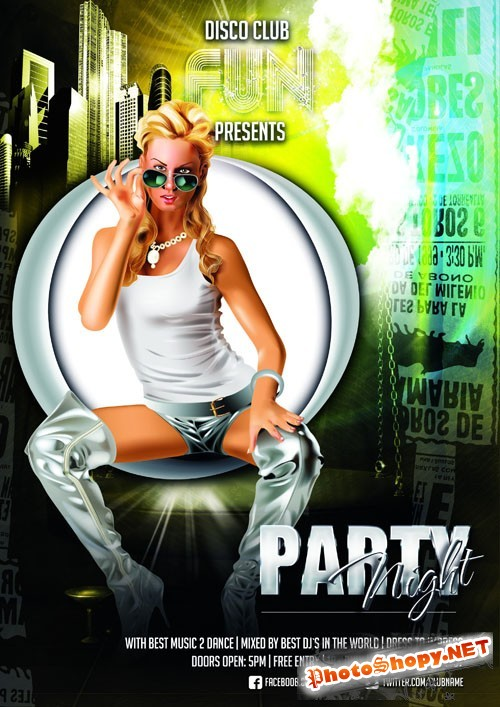 Fun Party Night Flyer Template PSD