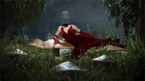 Шаблон для фотошопа - В сказочном мире в красном вечернем платье