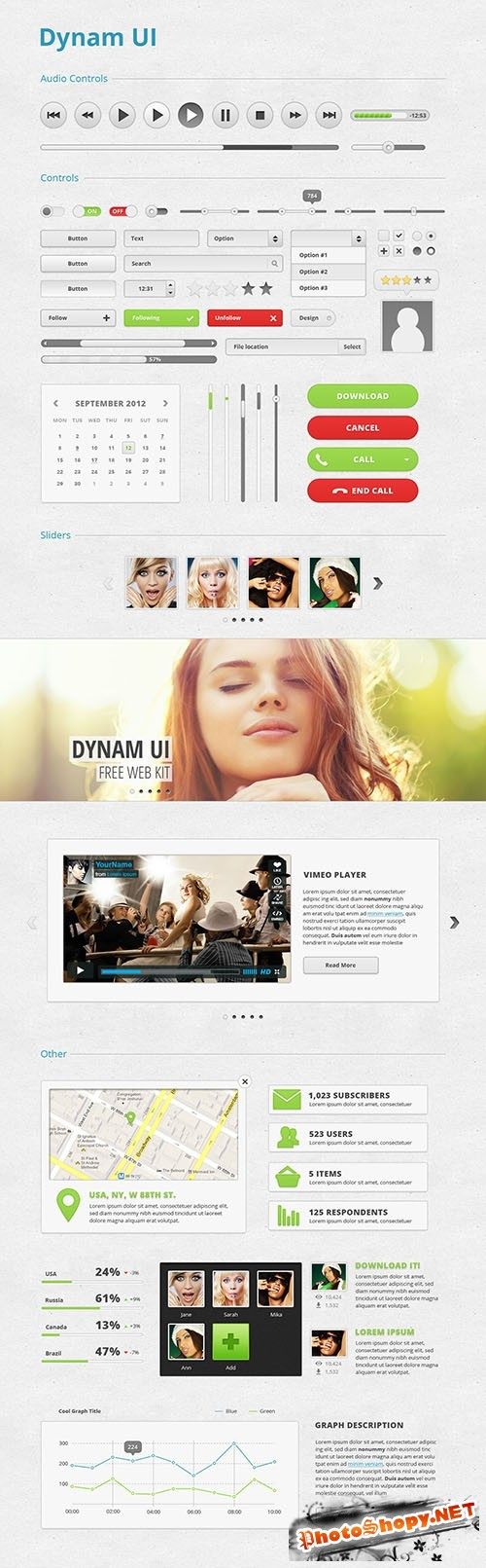Incredibly User Interface Kit PSD Template