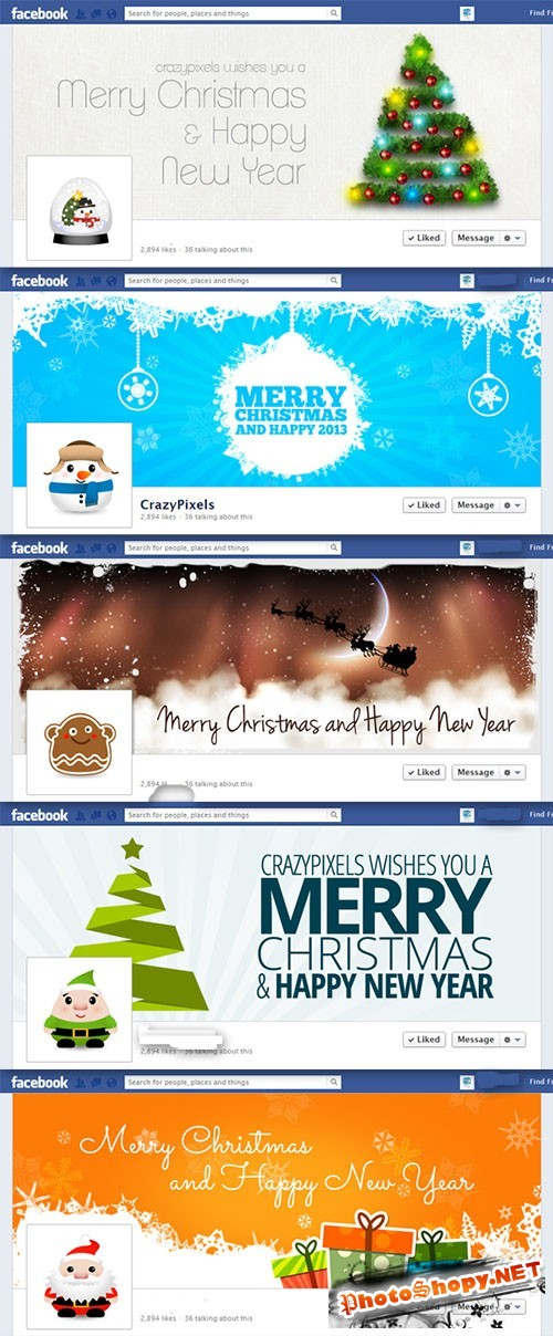 5 Premium Christmas Facebook Covers PSD Template